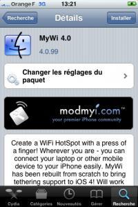 Activer le partage de connexion Internet avec MyWi 4.0 sur iOS 4.0