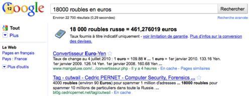 Google est aussi un convertisseur de devises