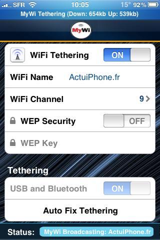 Tuto: Partagez votre connexion 3G sur iPhone avec Mywi