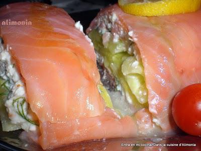 Rollo de salmon ahumado al queso fresco / Roulé de saumon fumé au fromage frais