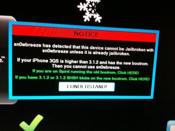 [Tuto] Jailbreak iOS 4 iPhone 3GS nouveau bootrom avec Sn0wbreeze