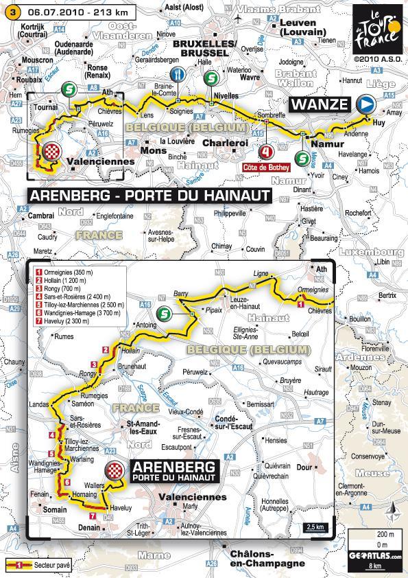 Tour de France 2010 - 3ème étape : Wanze - Arenberg Porte du Hainaut (213 km)