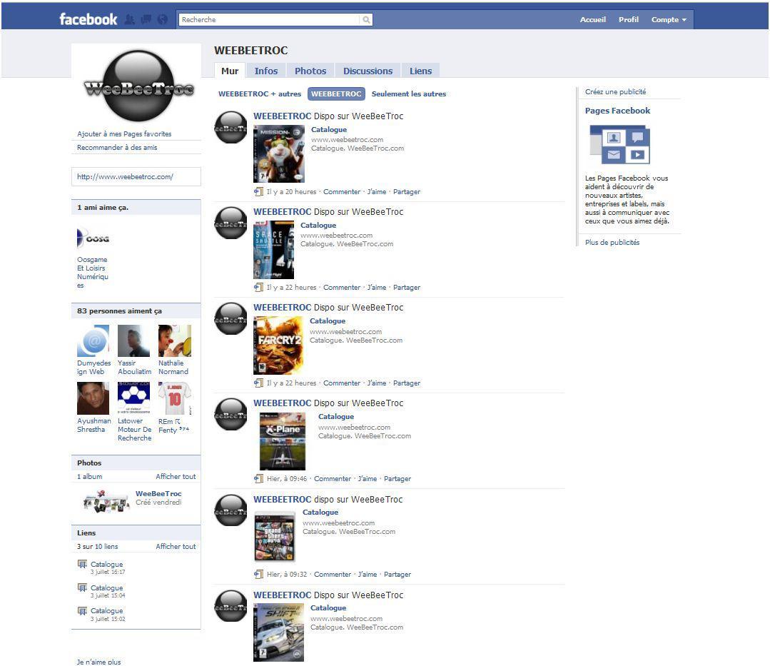 fanpage facebook oosgame weebeetroc [WeeBeeTroc] Le site d'échange de jeux vidéo sur Facebook.