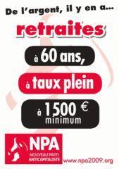Affiche du NPA contre la réforme des retraites