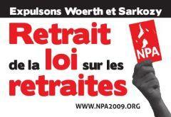 Autocollant du NPA sur la réforme des retraites.