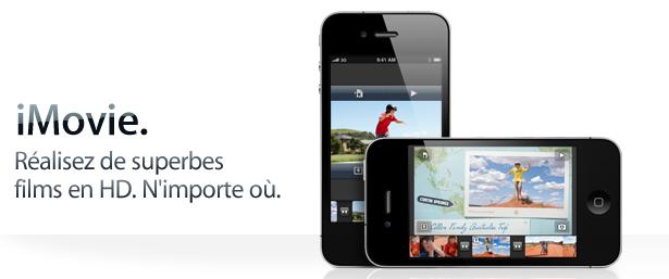 Mise à jour de l'application iMovie pour iPhone 4