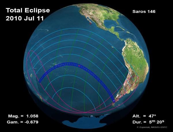 Zone de visibilité de l'éclpse centrale totale de Soleil du 11 juillet 2010