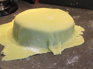 ... une lamebien plate. Recouvrez les deux gâteaux de pâte damande