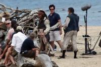 Johnny Depp en Jack Sparrow sur le Tournage de Pirates of the Caribbean: On Stranger Tides