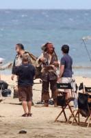 Johnny Depp en Jack Sparrow sur le Tournage de Pirates des Caraïbes 4