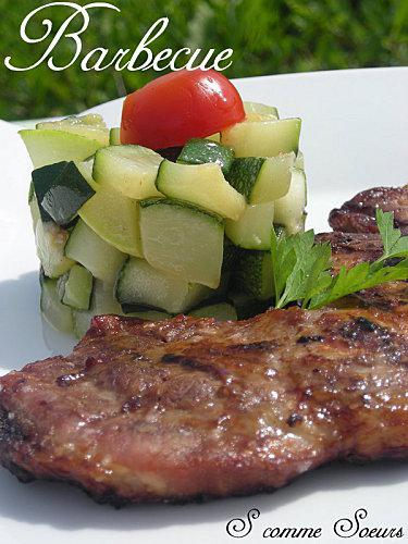 Filet de porc marin au barbecue et courgettes saut es - Filet mignon de porc grille au barbecue ...