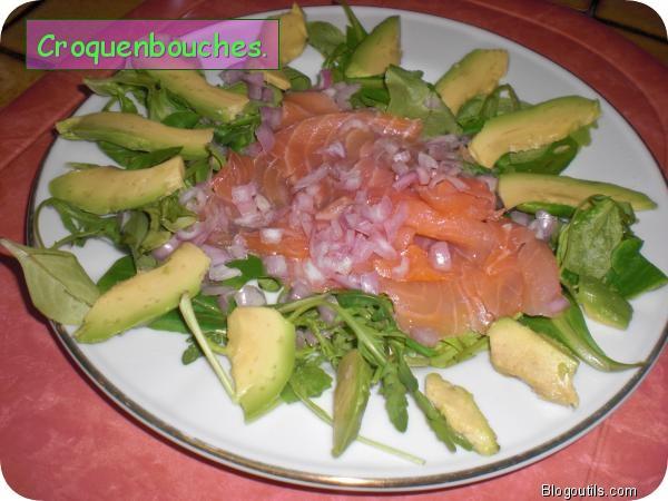 Assiette de saumon sur son lit de salade et avocat lire - Decoration de salade sur assiette ...