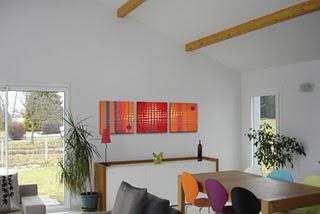 Tableau moderne design rouge et orange n 34 lire for Cadre contemporain et moderne