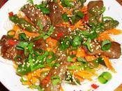 salade bœuf sauce Sukiyaki (Thaï), asperges sautées sésame