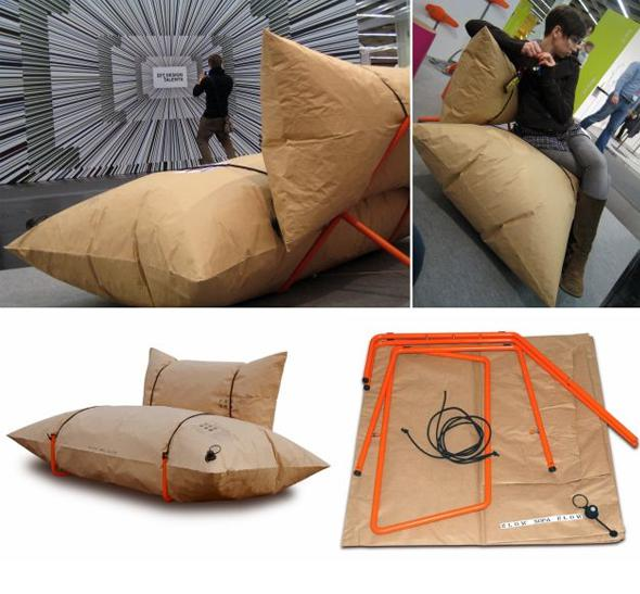 blow un sofa gonflable en papier recycl par youlka. Black Bedroom Furniture Sets. Home Design Ideas