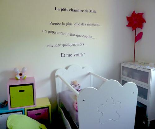 Le stickers de mila paperblog for Stickers phrase chambre bebe