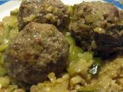 Boulettes boeuf courgettes brocciu, risotto boulgour