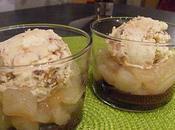 Verrine poire chocolat noisette boule glace vanille