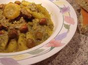 Tajine d'agneau pommes terre, olives violettes citron confit