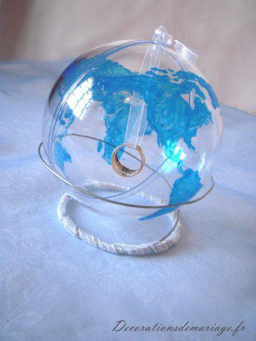 porte alliances globe, mariage voyage,