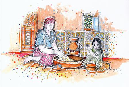 Semoule de couscous sucrée aux amandes et à la cannelle