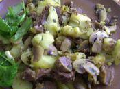 Pommes terre ,champignons ,jarret veau ...!