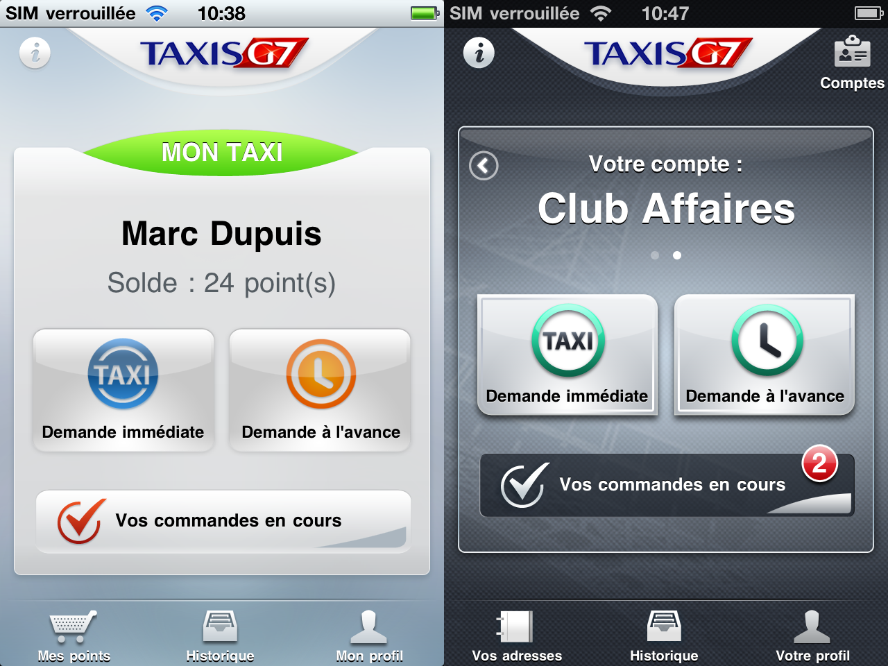 des taxis g7 prioritaires gr ce une appli depuis l iphone paperblog. Black Bedroom Furniture Sets. Home Design Ideas
