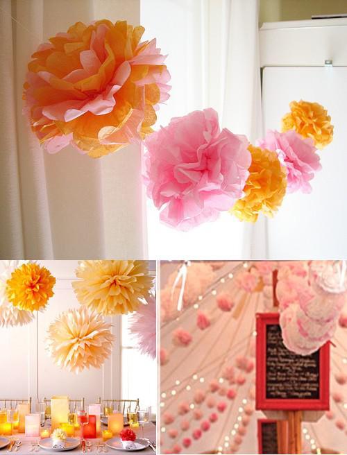 Des guirlandes en papier des guirlandes de fleurs de tissus de fanions ou - Guirlande fleurs papier ...