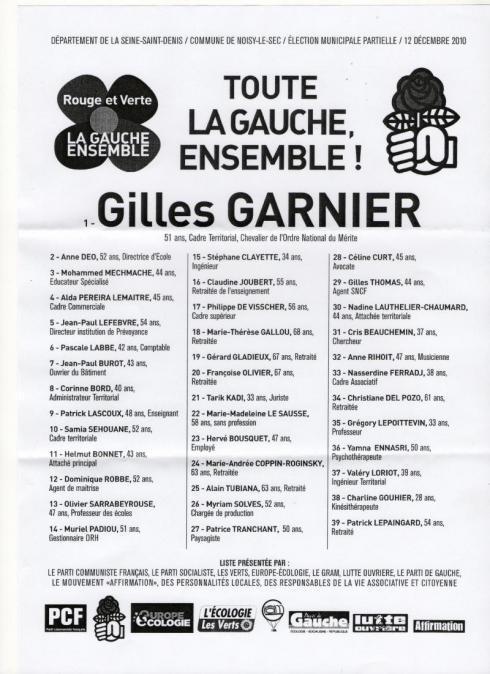 OFFICIEL : La liste de la gauche rassemblée qui se présente au deuxième et avant-dernier tour des élections municipales partiell