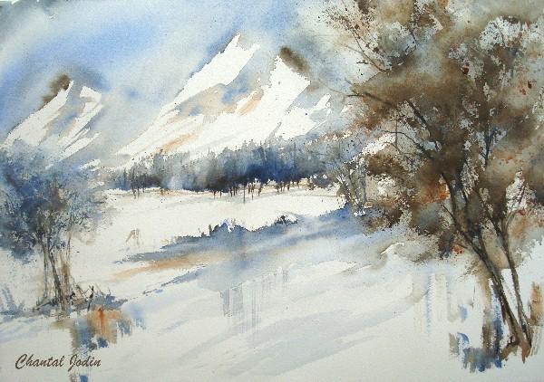 Les paysages enneig s partie 5 la neige et des aquarellistes d aujourd hui g z voir - Paysage enneige dessin ...