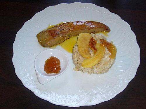 Risotto la mascarpone foie gras poel chutney de for Chutney de pommes pour foie gras
