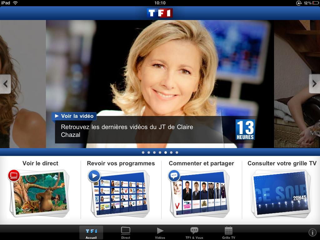 tf1 tf1 mobile app gratuites pour ipad paperblog. Black Bedroom Furniture Sets. Home Design Ideas