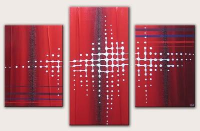 Tableau contemporain rouge et pixel n 40 d couvrir - Tableau couleur prune ...