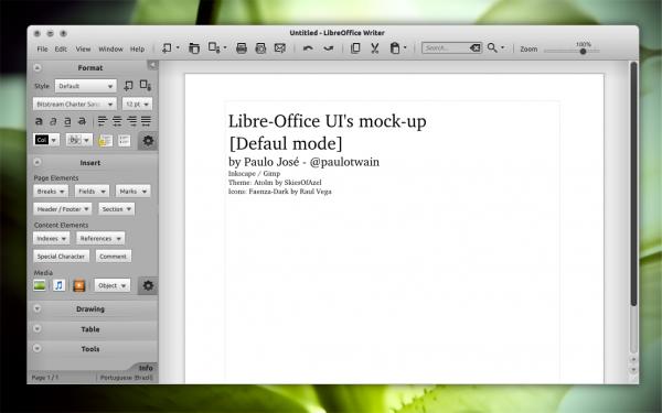 Mockup d'interface graphique de LibreOffice