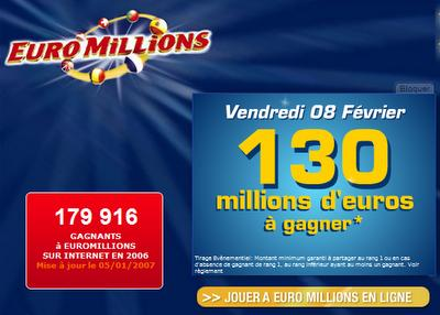 vendredi 8 f vrier 130 millions gagner euromillions paperblog. Black Bedroom Furniture Sets. Home Design Ideas