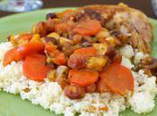 Tajine poulet carottes, miel raisins secs