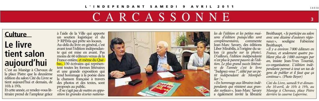 Salon du livre de carcassonne 2011 premiers articles de for Salon du taf carcassonne