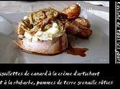 Aiguillettes canard crème d'artichaut rhubarbe pommes terre grenaille rôties
