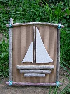 tableau bateau en carton tissu et bois flott paperblog. Black Bedroom Furniture Sets. Home Design Ideas