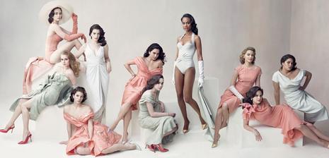 Emily Blunt, Amy Adams, Jessica Biel, Anne Hathaway, Alice Braga, Ellen Page, Zoe Saldana, Elizabeth Banks, Ginnifer Goodwin, and America Ferrera, photographed by Annie Leibovitz.