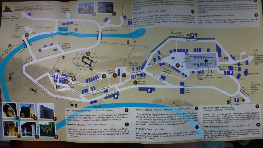 Najac (Нажак) - карта города с достопримечательностями