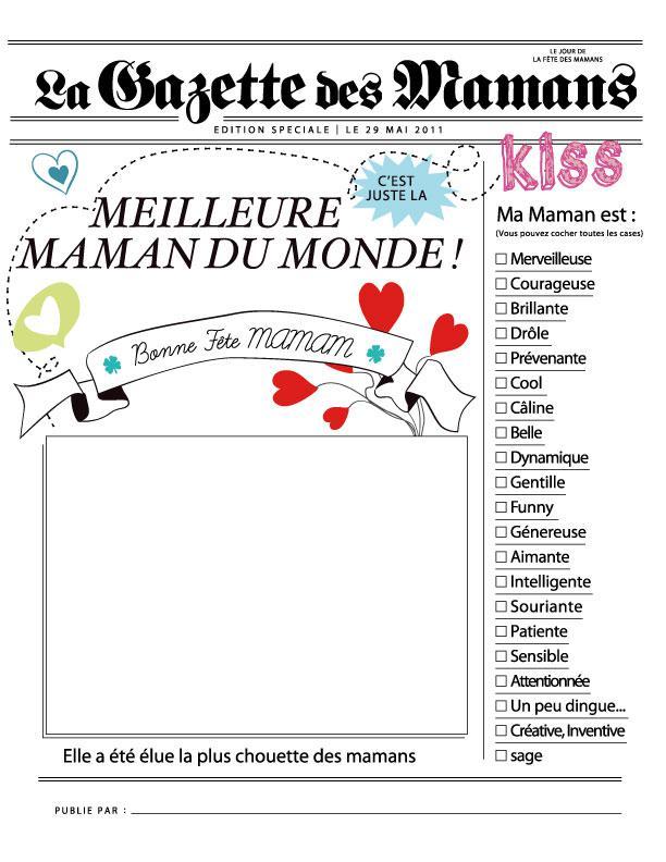 Carte journal pour la fête des mères
