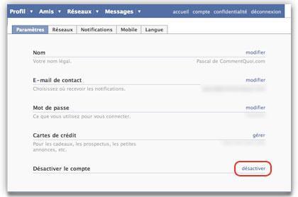 Facebook Mon compte Désactivation