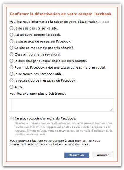Confirmation désactivation Facebook