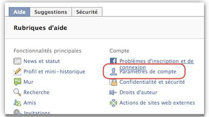 Facebook Paramètres de compte