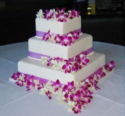 Gateau de mariage avec orchidées des gateaux a etages, ronds carrés ...