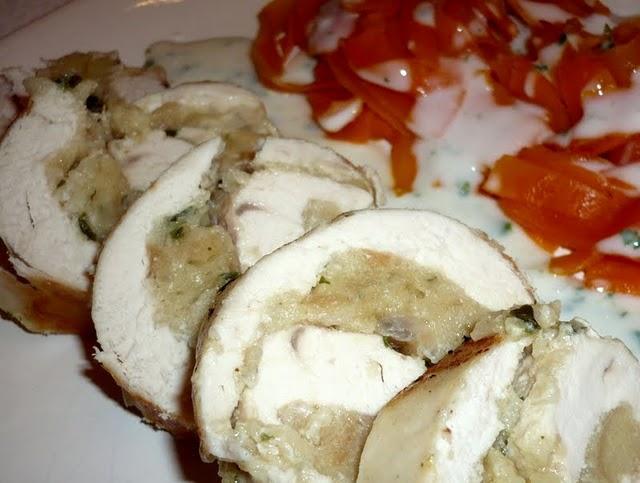 Ballotines de poulet farcies à la mie de pain et à l'échalote