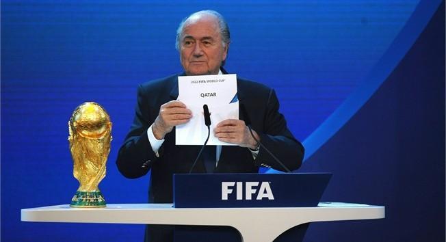 Sepp Blatter annonçant l'attribution de la Coupe du Monde 2022