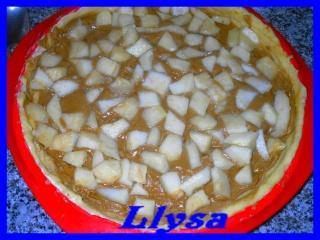 tarte à la pâte de spéculos, poires et pépites de chocolat