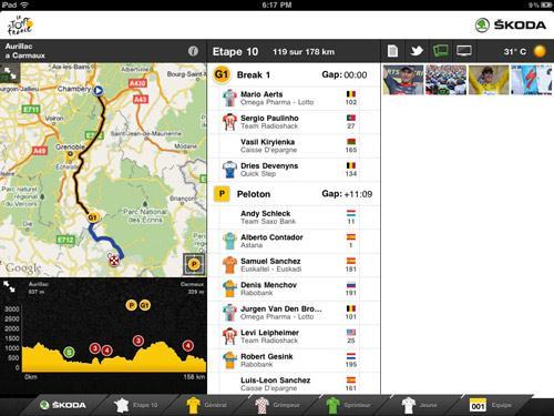 Le Tour de France 2011, une app iPad pour suivre les courses